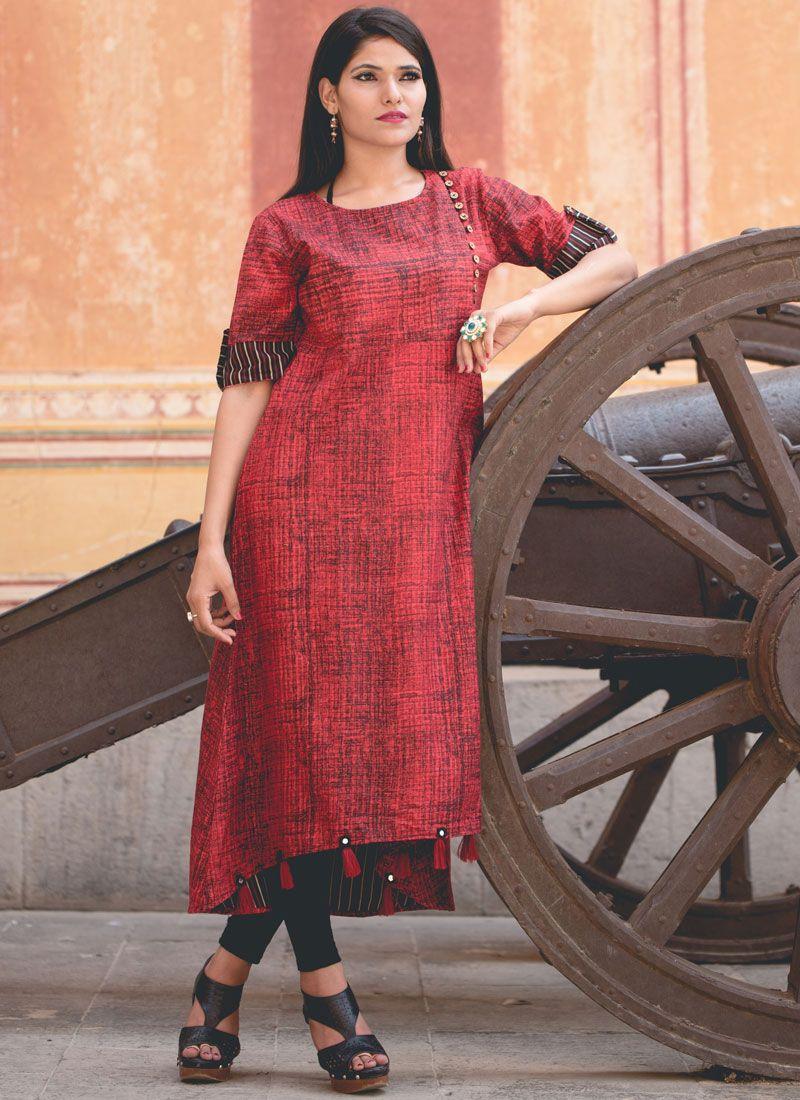 Cotton   Printed Work Casual Kurti