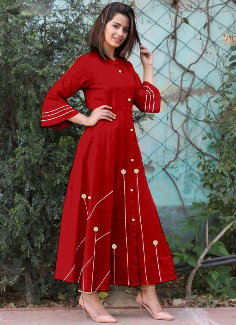 Cotton   Red Buttons Work Casual Kurti