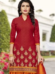 Cotton   Red Embroidered Work Patiala Salwar Suit