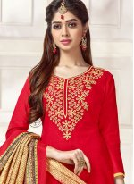 Cotton   Red Print Work Churidar Suit