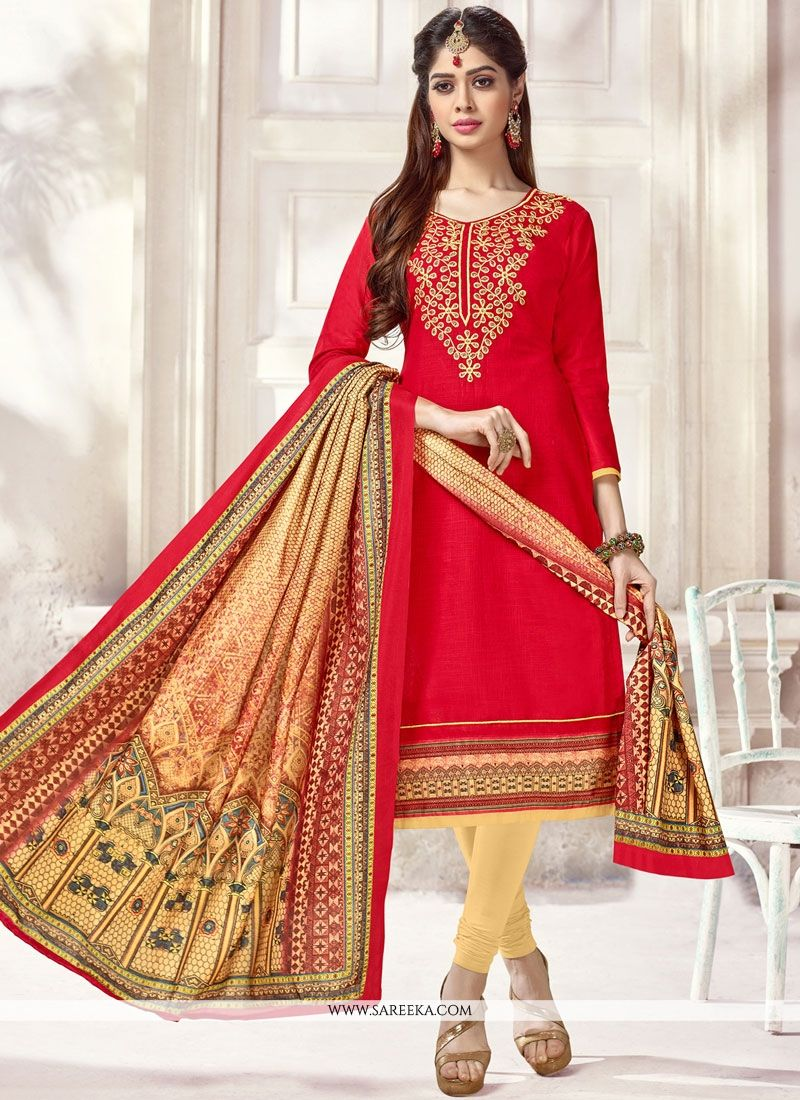 Cotton   Red Print Work Churidar Suit