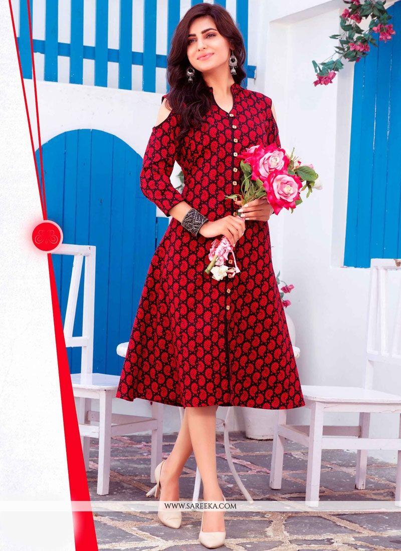 Cotton   Red Print Work Party Wear Kurti