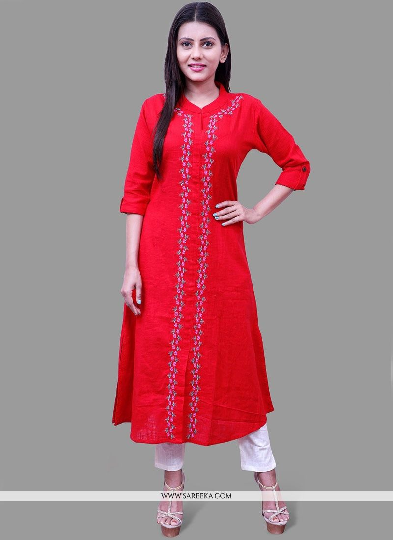 Cotton   Red Print Work Party Wear Kurti