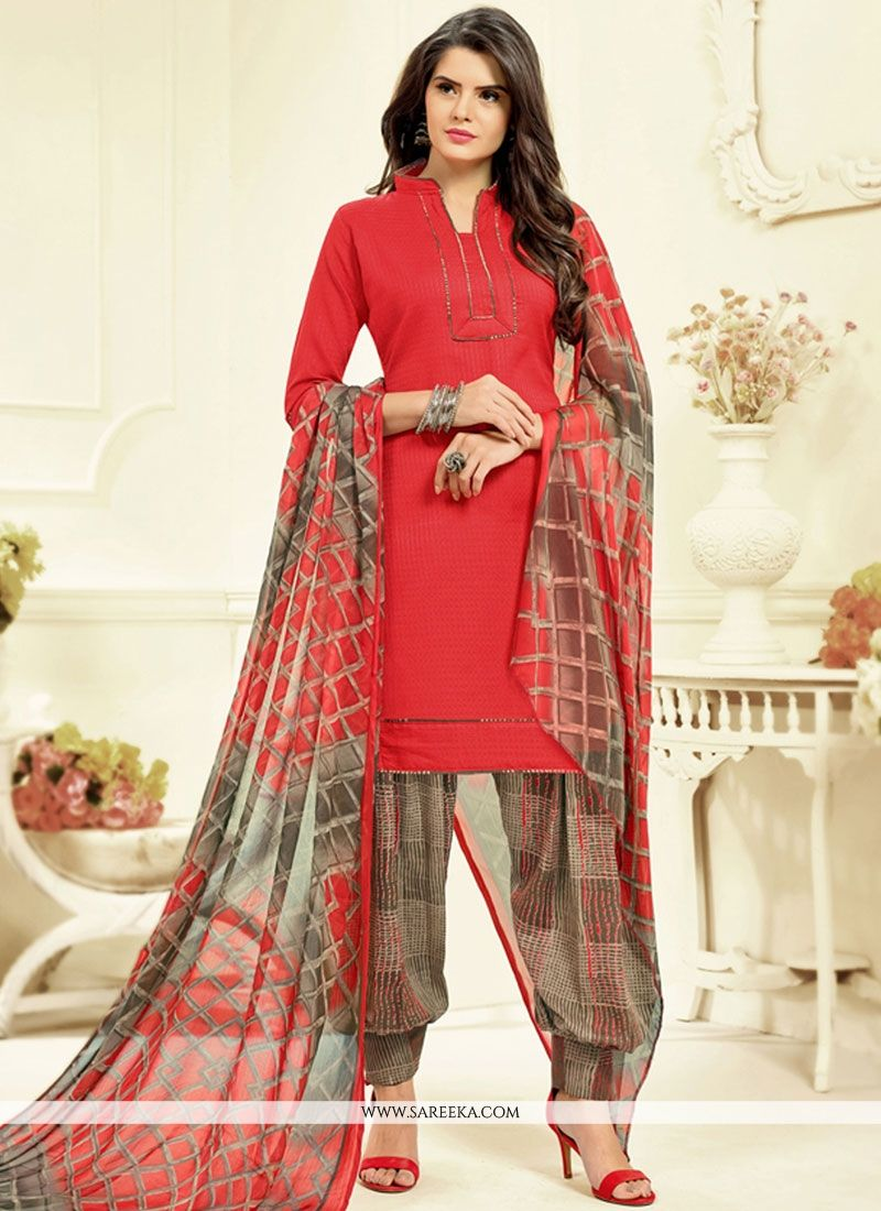 Cotton   Red Printed Work Work Patiala Salwar Kameez