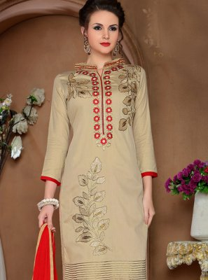 Cotton   Resham Pant Style Suit in Beige
