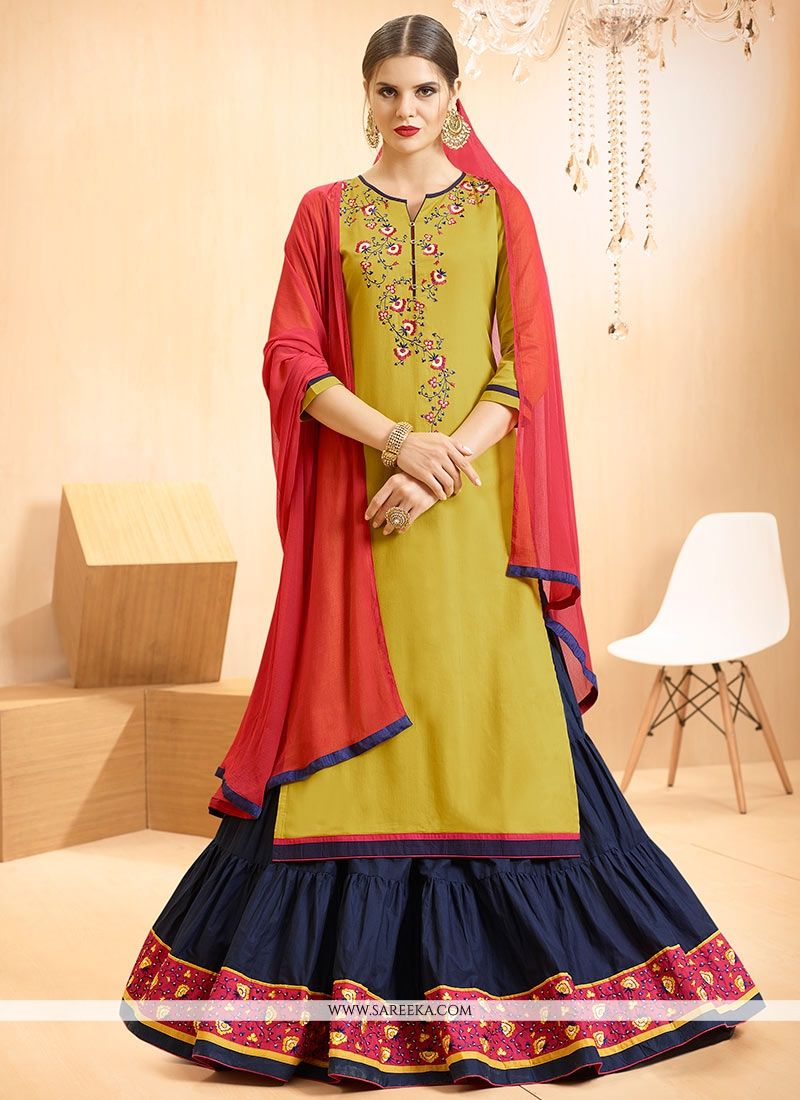 Cotton   Resham Work Long Choli Lehenga