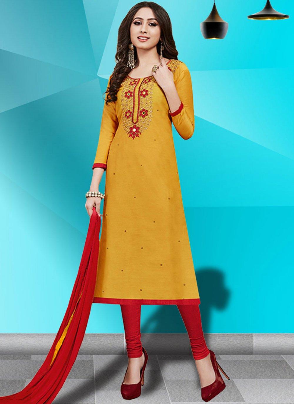Cotton   Resham Yellow Churidar Salwar Kameez