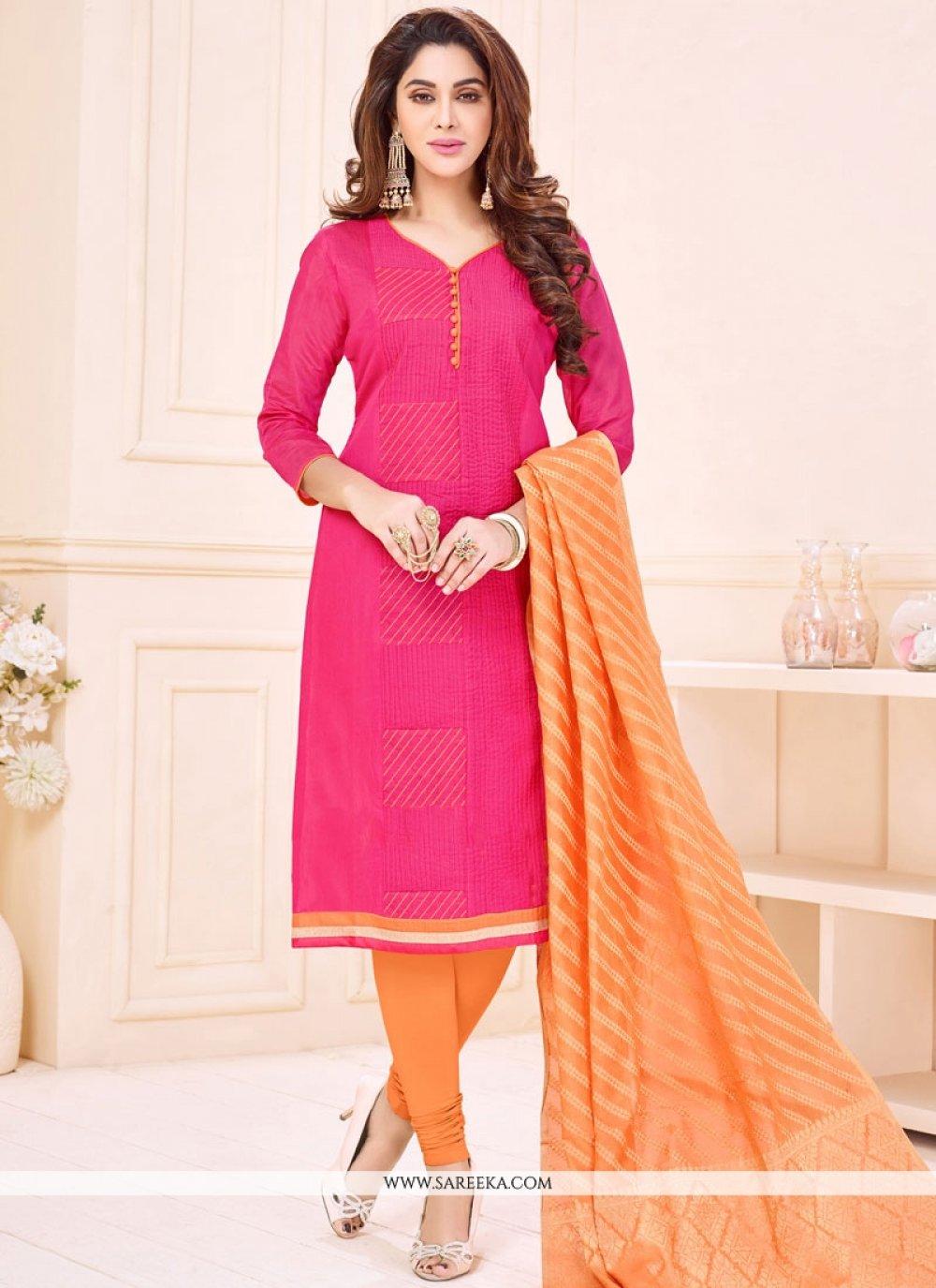 Cotton   Rose Pink Churidar Suit
