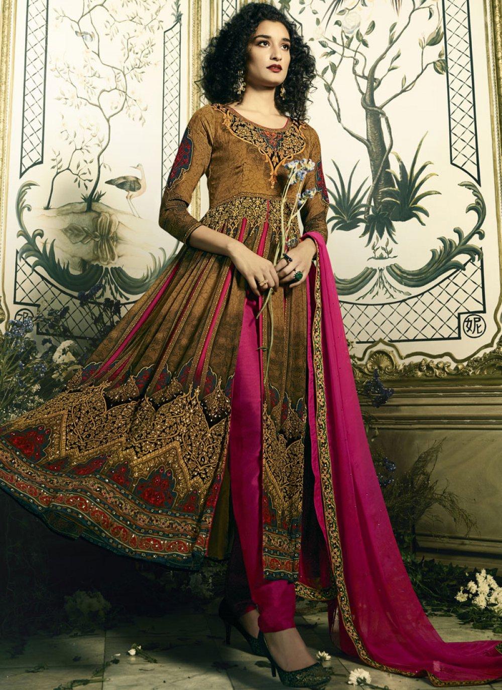 Cotton Satin Anarkali Salwar Suit