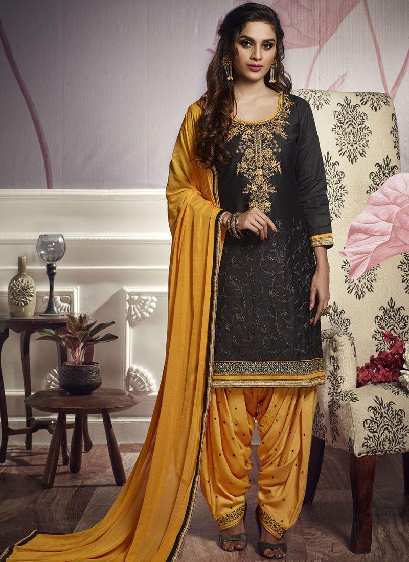Cotton Satin Black Resham Punjabi Suit