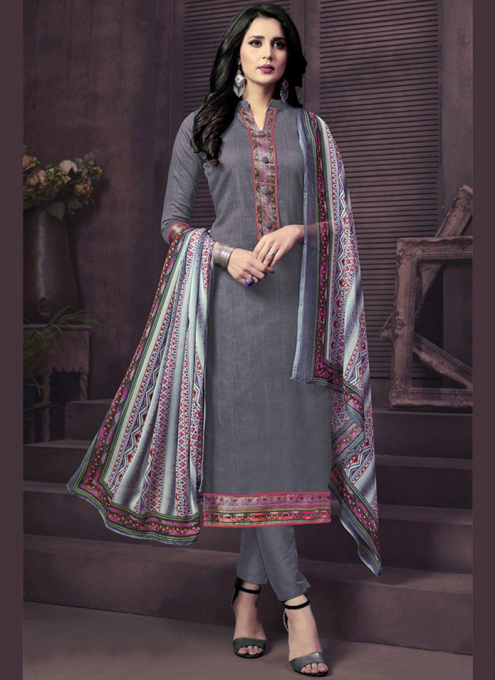 Cotton Satin Churidar Suit
