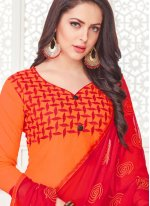 Cotton Satin Embroidered Churidar Suit