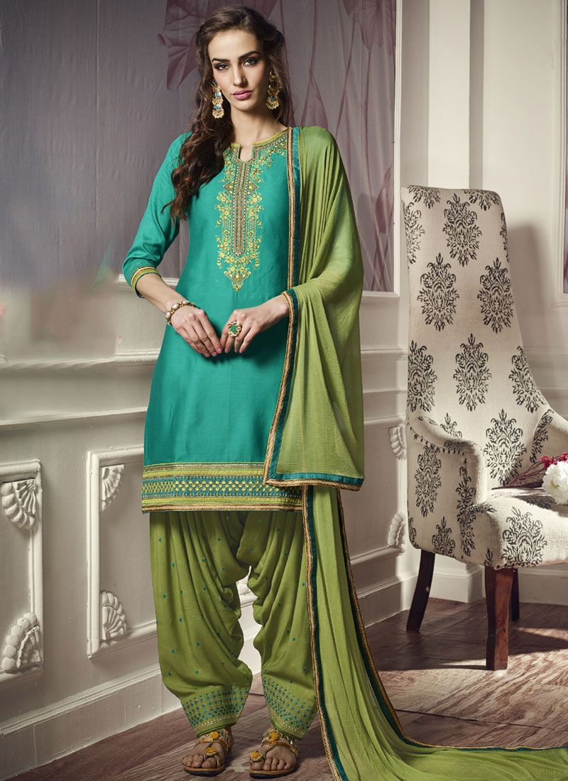 Cotton Satin Embroidered Punjabi Suit in Green