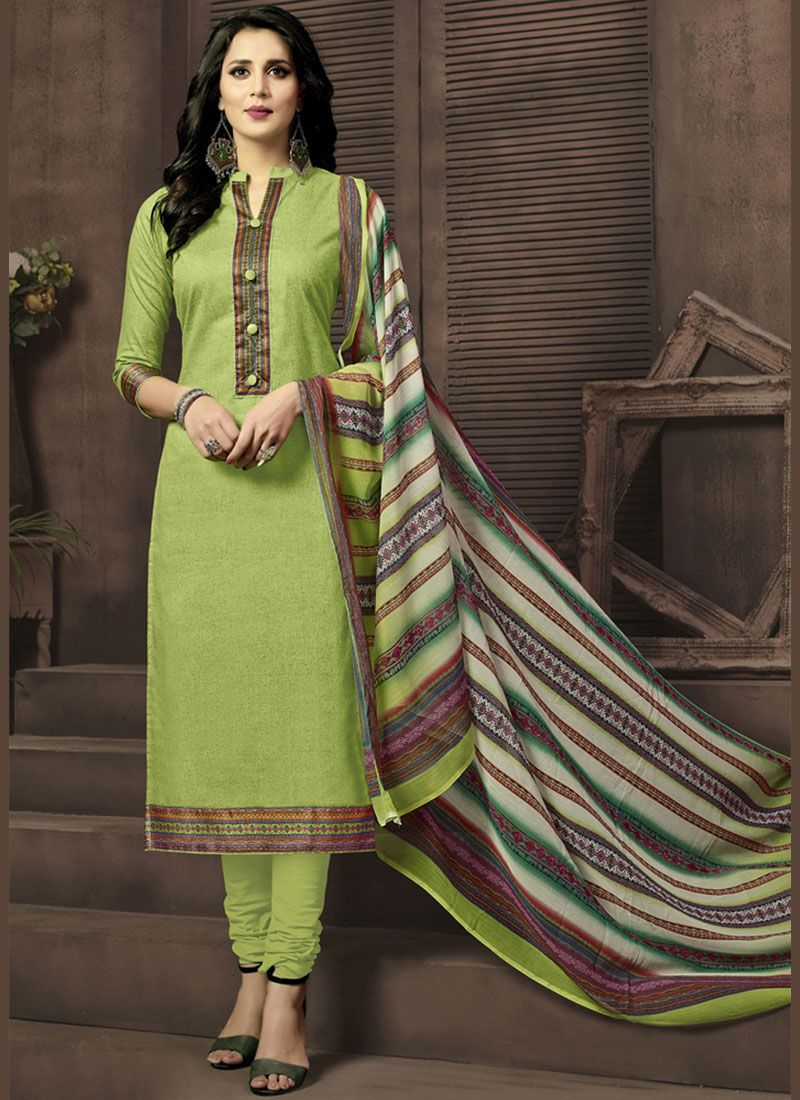 Cotton Satin Green Churidar Suit