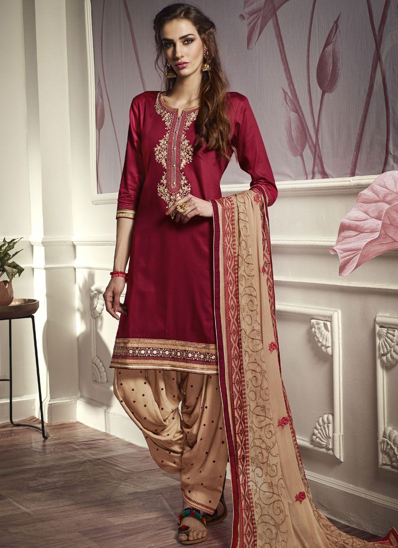 Cotton Satin Maroon Embroidered Punjabi Suit