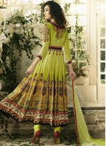 Cotton Satin Multi Colour Print Anarkali Salwar Suit
