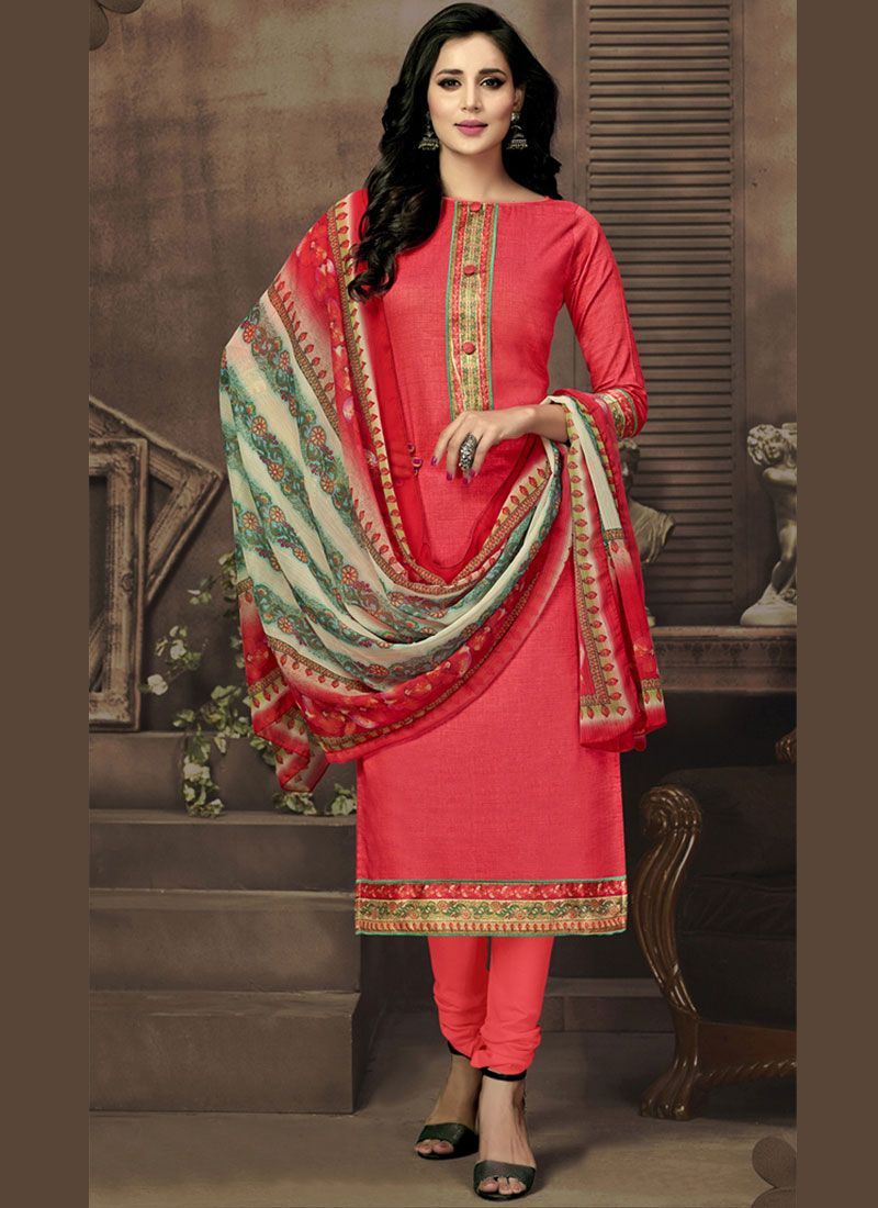 Cotton Satin Red Churidar Suit