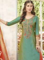 Cotton Satin Sea Green Weaving Work Designer Palazzo Suit