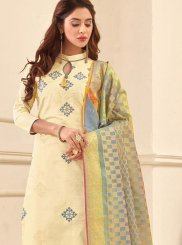 Cotton Satin White Embroidered Work Churidar Suit