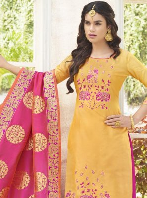Cotton Satin Yellow Weaving Work Designer Palazzo Suit