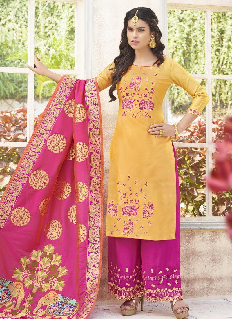 Cotton Satin Yellow Weaving Work Designer Palazzo Suit