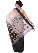 Cotton Silk Beige and Black Traditional  Saree