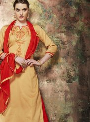 Cotton Silk Beige and Red Resham Long Choli Lehenga