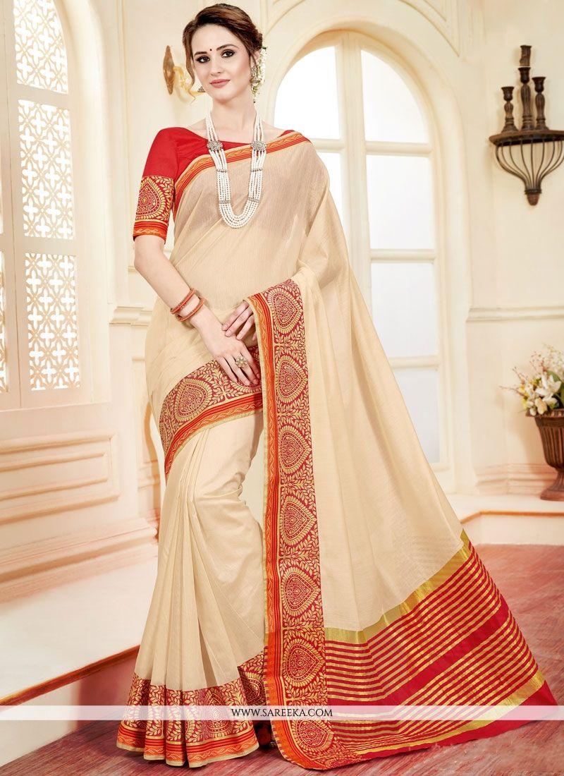 Cotton Silk Beige woven Work Casual Saree