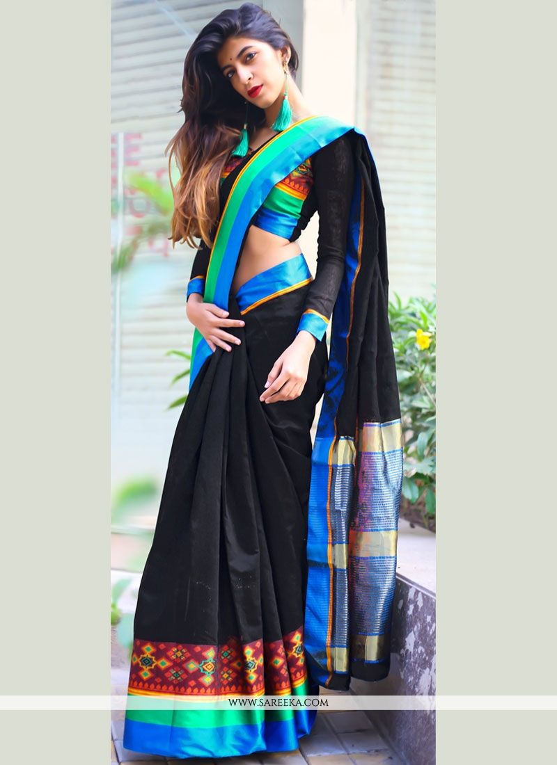 Cotton Silk Black woven Work Casual Saree