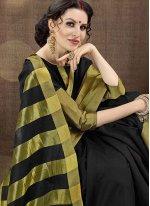 Cotton Silk Black woven Work Traditional  Saree