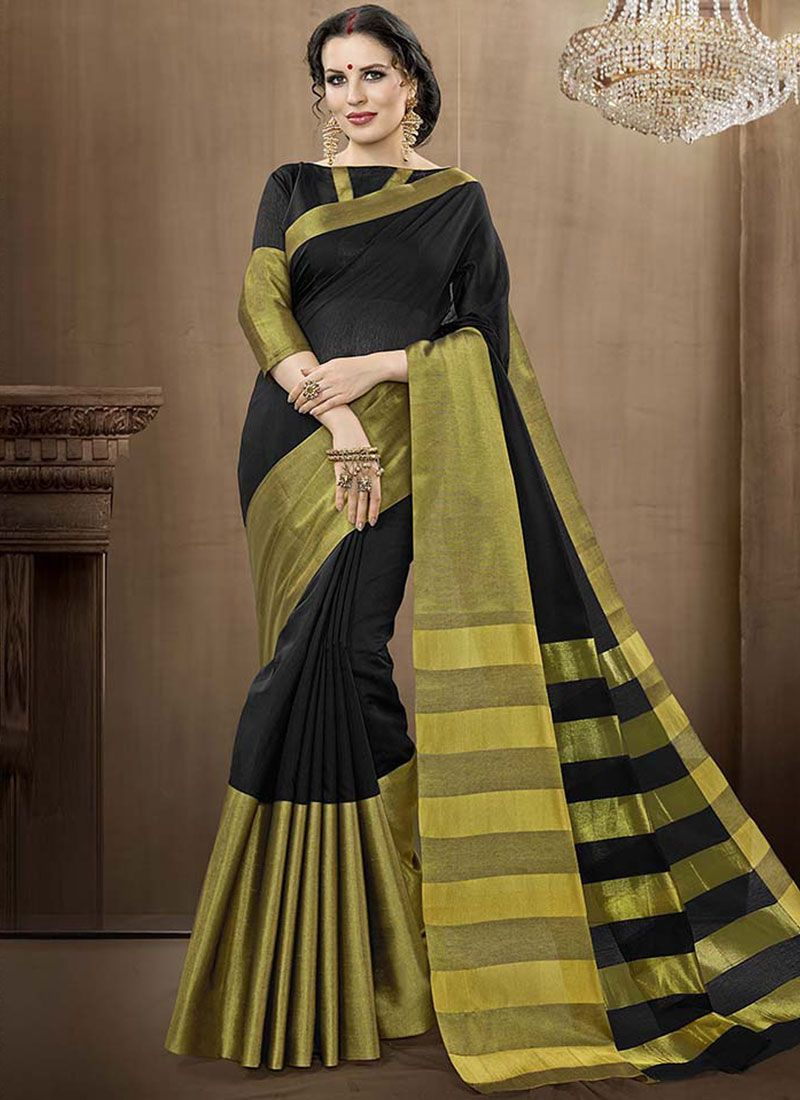 Cotton Silk Black woven Work Traditional  Saree