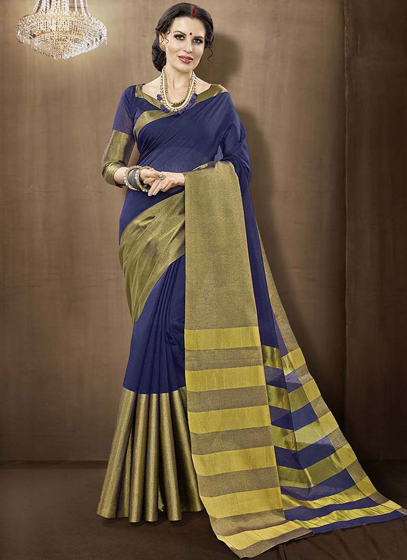 Cotton Silk Blue Traditional Designer Saree
