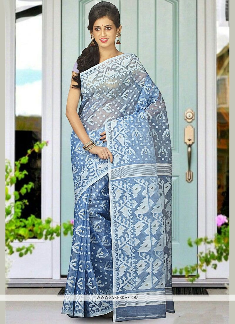 Cotton Silk Blue Traditional  Saree
