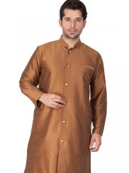 Cotton Silk Brown Plain Kurta Pyjama
