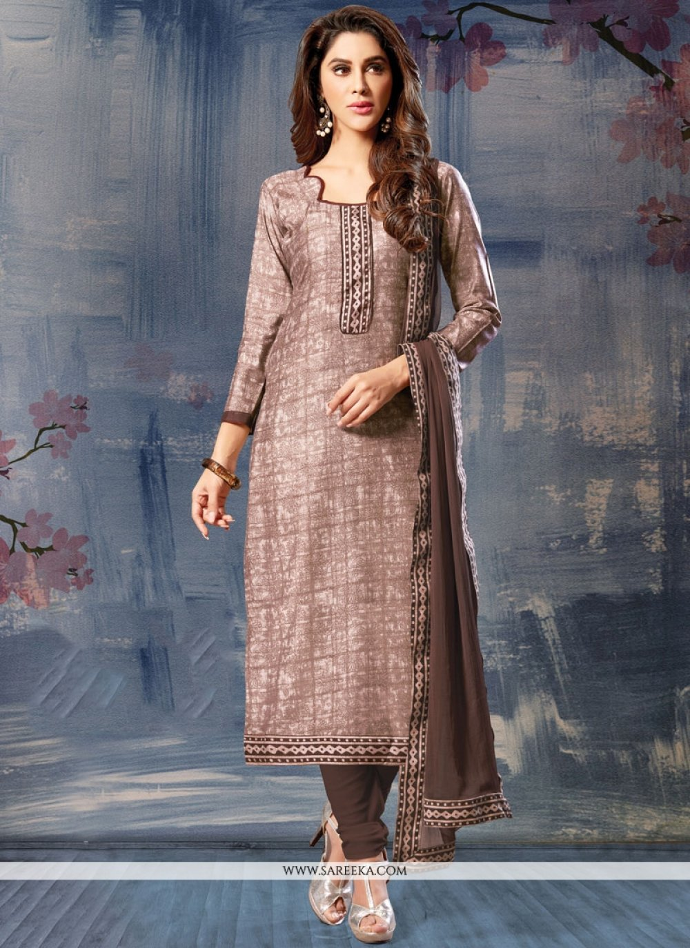 Cotton Silk Brown Print Work Churidar Suit