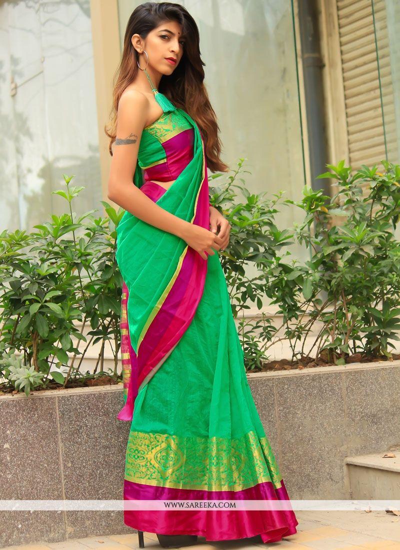 Cotton Silk Green Casual Saree