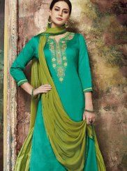 Cotton Silk Green Embroidered Long Choli Lehenga