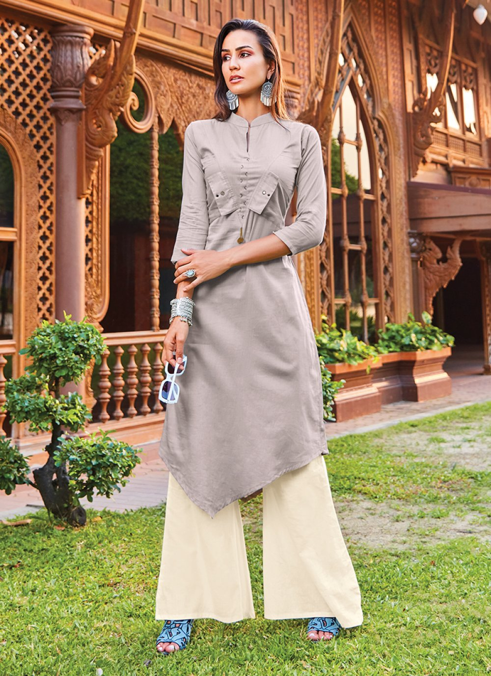 Cotton Silk Grey Designer Kurti