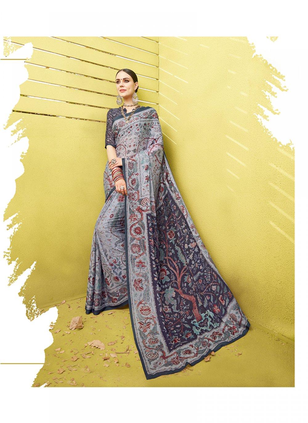 Cotton Silk Grey Printed Saree