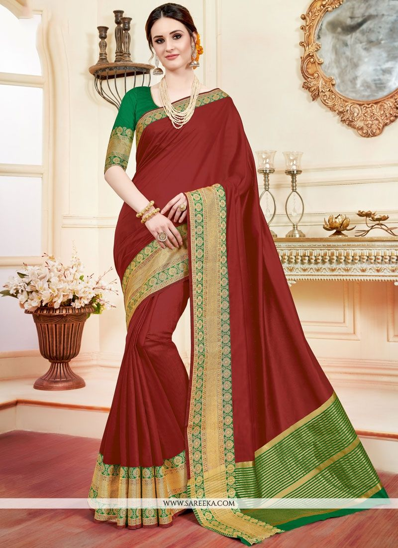 Cotton Silk Maroon Casual Saree