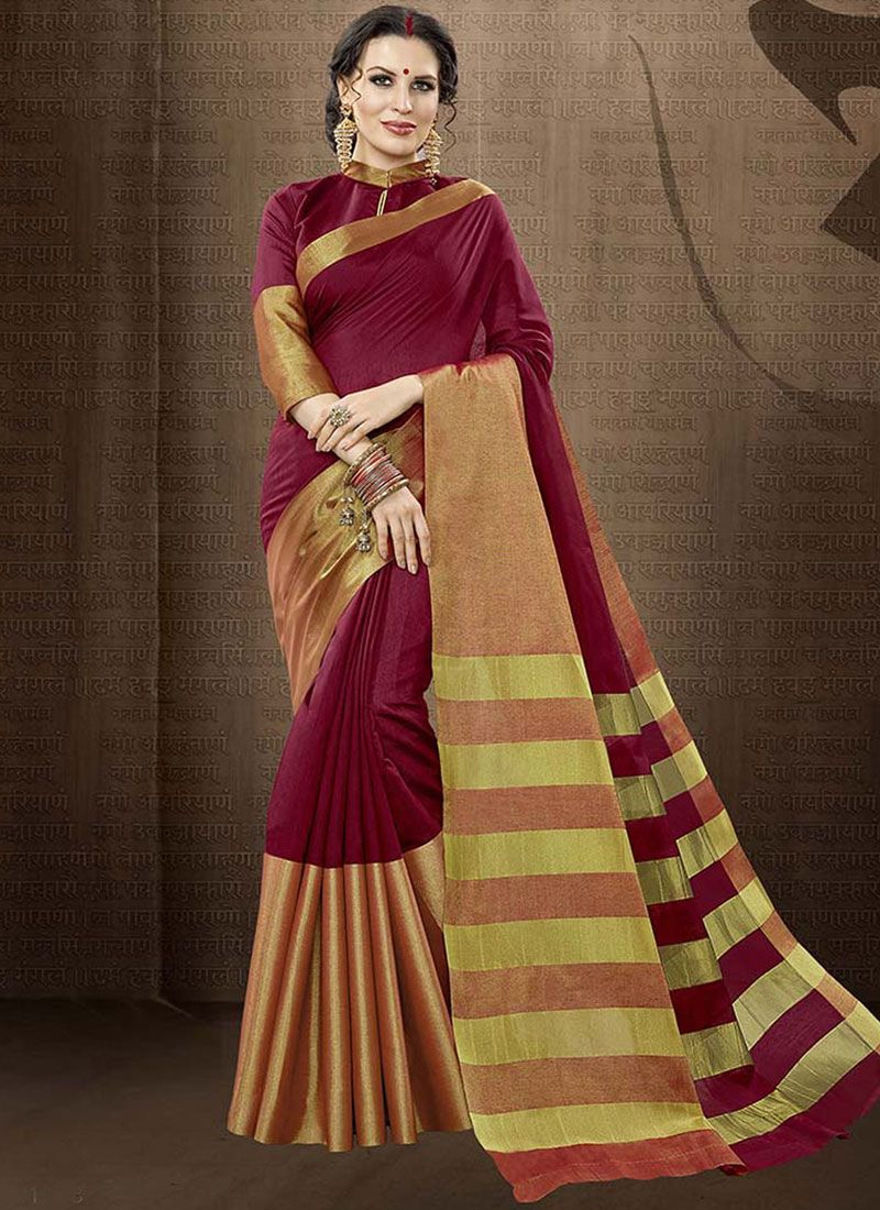 Cotton Silk Maroon Traditional  Saree