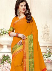 Cotton Silk Orange Traditional  Saree
