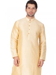 Cotton Silk Plain Gold Kurta Pyjama