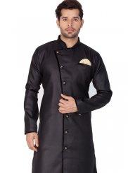 Cotton Silk Plain Kurta Pyjama in Black