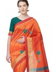 Cotton Silk Print Casual Saree in Orange