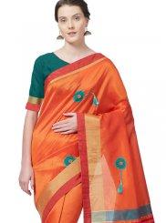 Cotton Silk Print Casual Saree in Orange