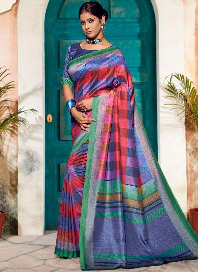 6c0464f33c Shop Cotton Silk Print Multi Colour Printed Saree Online : 91544 -