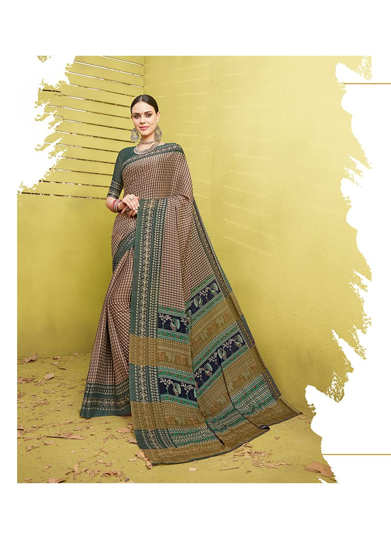 Cotton Silk Printed Work Printed Saree
