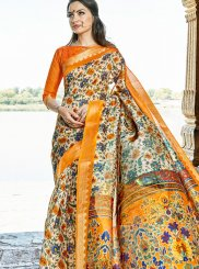 Cotton Silk Printed Work Traditional  Saree