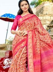 Cotton Silk Printed Work Traditional  Saree